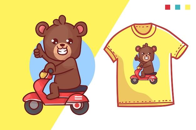 Lindo diseño de plantilla de camiseta de oso ciclomotor