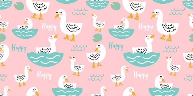Lindo diseño de tarjeta de regalo de pato feliz modelo inconsútil