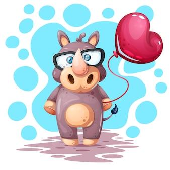 Lindo, divertido, bonito rinoceronte con globo.
