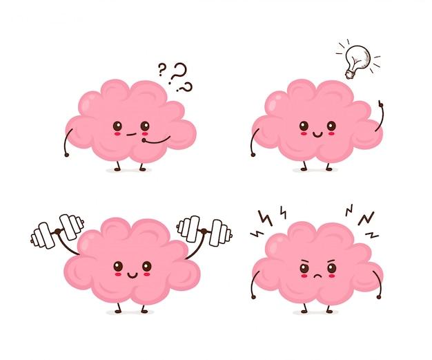 Lindo, divertido, cerebro, emociones, set., vector, plano, caricatura, carácter, ilustración, icono
