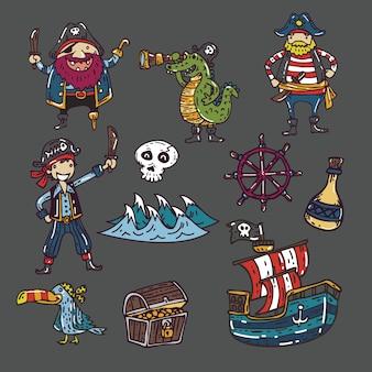 Lindo divertido conjunto de vectores de piratas