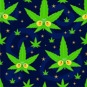 Lindo divertido feliz marihuana hojas de marihuana y estrellas en el espacio de patrones sin fisuras