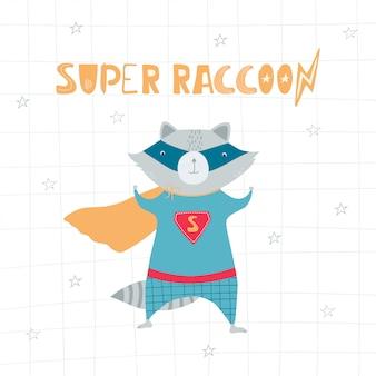 Lindo y divertido mapache en traje de superhéroe, máscara, estrellas, rayo y letras manuscritas superraccoon en estilo plano.