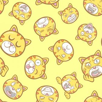Lindo y divertido mascota animal gato emoticonos ilustración patrón sin costuras