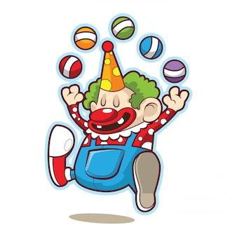 Lindo divertido payaso de circo haciendo malabares con la pelota.