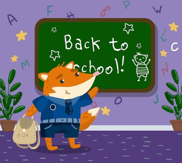 Lindo, divertido, pequeño, zorro, animal, estudiante, en, uniforme escolar, posición, al lado de, pizarra, en, el, calssroom, regreso, a, escuela, concepto, ilustración