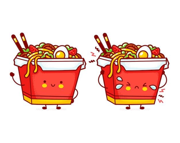 Lindo divertido personaje de caja de fideos wok feliz y triste