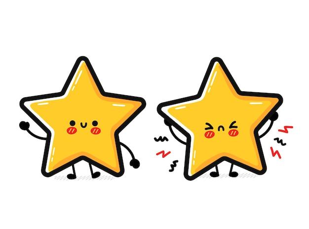 Lindo divertido personaje de signo de estrella triste y feliz