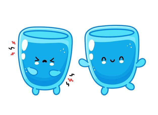 Lindo divertido personaje de vaso de agua feliz y triste