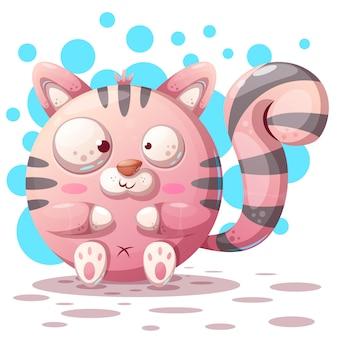 Lindo, divertido - personajes de dibujos animados gato