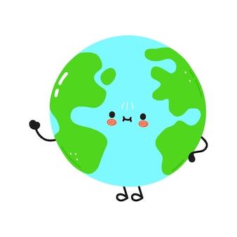 Lindo divertido planeta tierra agitando el carácter de la mano