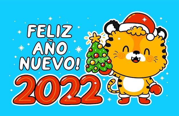 Lindo y divertido tigre de símbolo de año nuevo 2022 en carácter de gorro de navidad