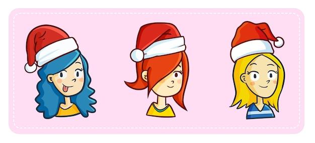 Lindo y divertido tres mujeres con tres colores de pelo diferentes con gorro de papá noel para navidad