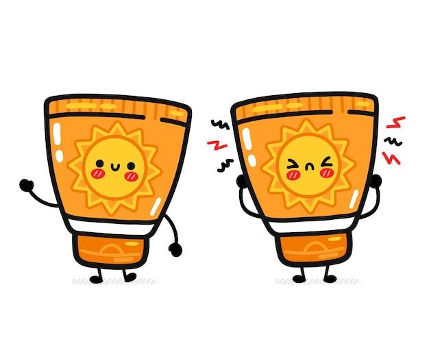 Lindo divertido tubo de protección solar feliz y triste