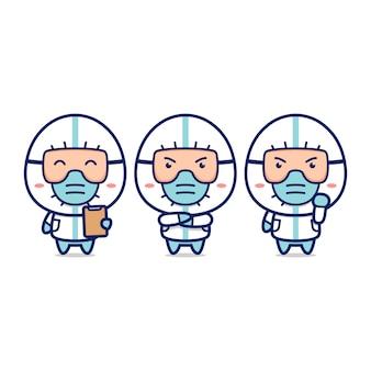 Lindo doctor conjunto con trajes de materiales peligrosos