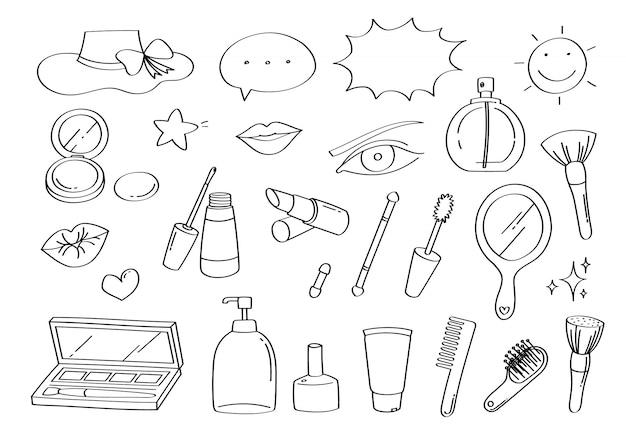 Lindo doodle belleza maquillaje y moda dibujos animados iconos y objetos.