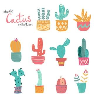 Lindo doodle dibujado a mano colección de cactus en colores pastel
