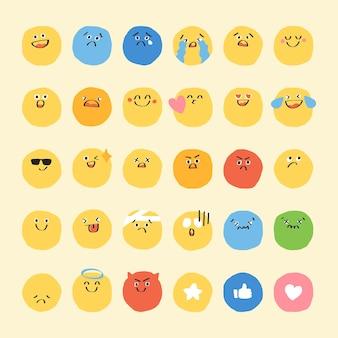 Lindo doodle emoticon set diario pegatina