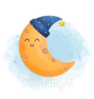 Lindo doodle luna durmiendo con texto de buenas noches