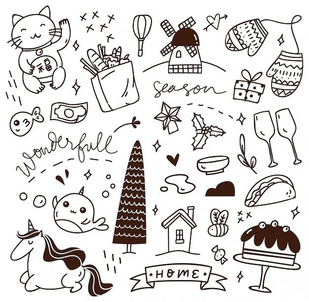 Lindo doodle con mezcla de varios objetos
