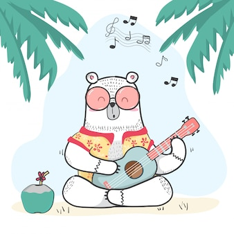 944ad1401 Lindo doodle de oso blanco en camisa de verano toca la guitarra.