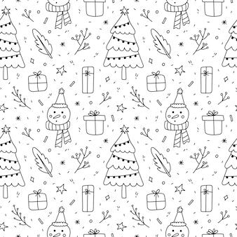Lindo doodle de patrones sin fisuras con ramitas de regalos de muñeco de nieve de árbol de navidad y copos de nieve