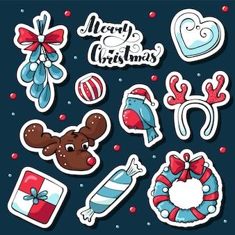 Lindo doodle pegatinas de navidad en estilo de dibujos animados con letras
