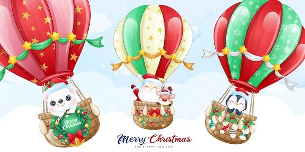 Lindo doodle santa claus y amigo volando con ilustración de globo de aire