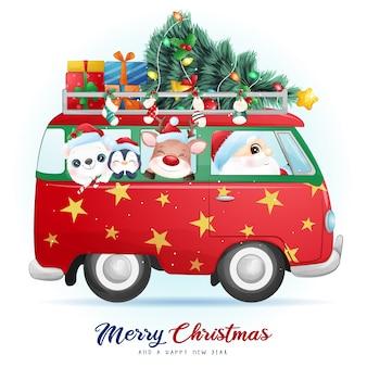 Lindo doodle santa claus y amigos para el día de navidad con ilustración de acuarela