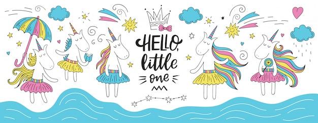 Lindo doodle de unicornio con letras de hello little one.