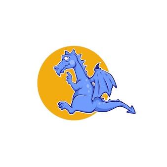 Lindo dragón azul, monstruo de dibujos animados para su logotipo, etiqueta, emblema