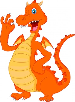 Lindo dragón de fuego dibujos animados saludando