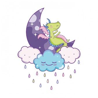 Lindo dragón en nubes dibujos animados