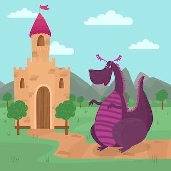 Lindo dragón parado frente a un castillo, cuento de hadas para niños ilustración