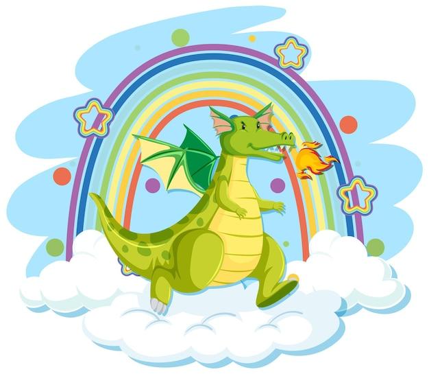 Lindo dragón verde en la nube con arco iris
