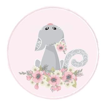 Lindo y dulce gato recoge flores