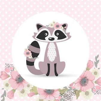 Lindo y dulce mapache recoge flores