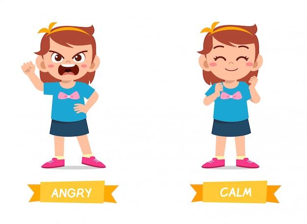 Lindo ejemplo de antónimo de palabra opuesta para niño