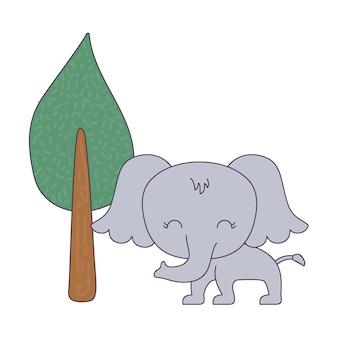 Lindo elefante animal con planta de árbol.