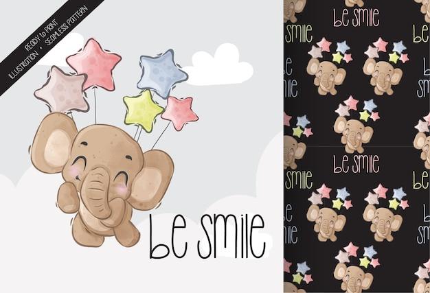 Lindo elefante bebé animal feliz volando con globo de patrones sin fisuras 1