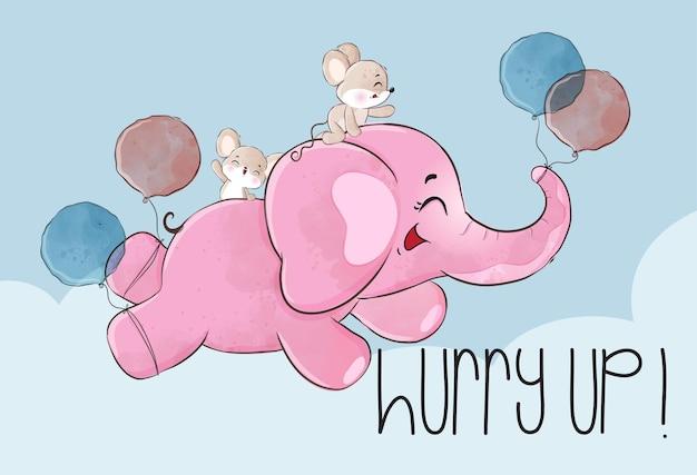 Lindo elefante bebé animal feliz volando con ilustración de globo