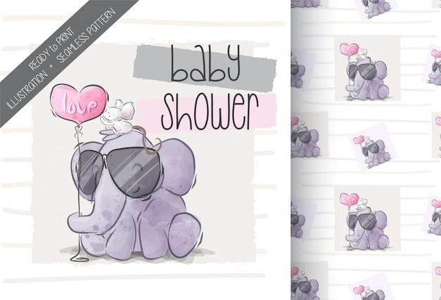 Lindo elefante con bebé ratón ilustración de patrones sin fisuras