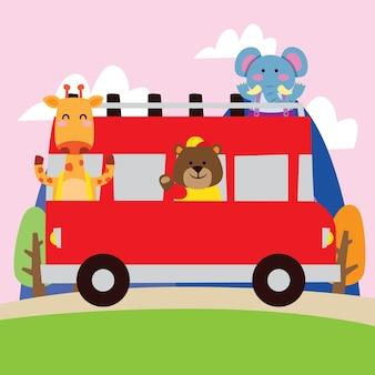 Lindo elefante de dibujos animados, oso y jirafa que viajan en coche bybus