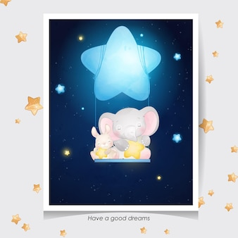 Lindo elefante doodle y conejito con ilustración acuarela