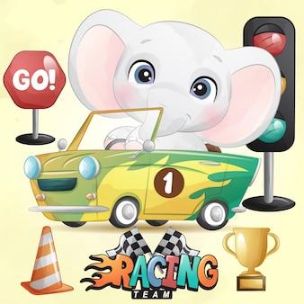 Lindo elefante doodle con ilustración de coche de carreras