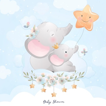 Lindo elefante doodle con ilustración de estrella