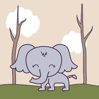 Lindo elefante en escena del bosque