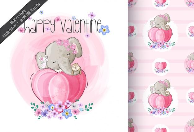 Lindo elefante feliz ilustración de san valentín con patrones sin fisuras