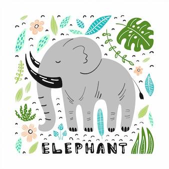 Lindo elefante con ilustraciones dibujadas a mano.