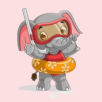 Lindo elefante listo para nadar y bucear dibujado a mano